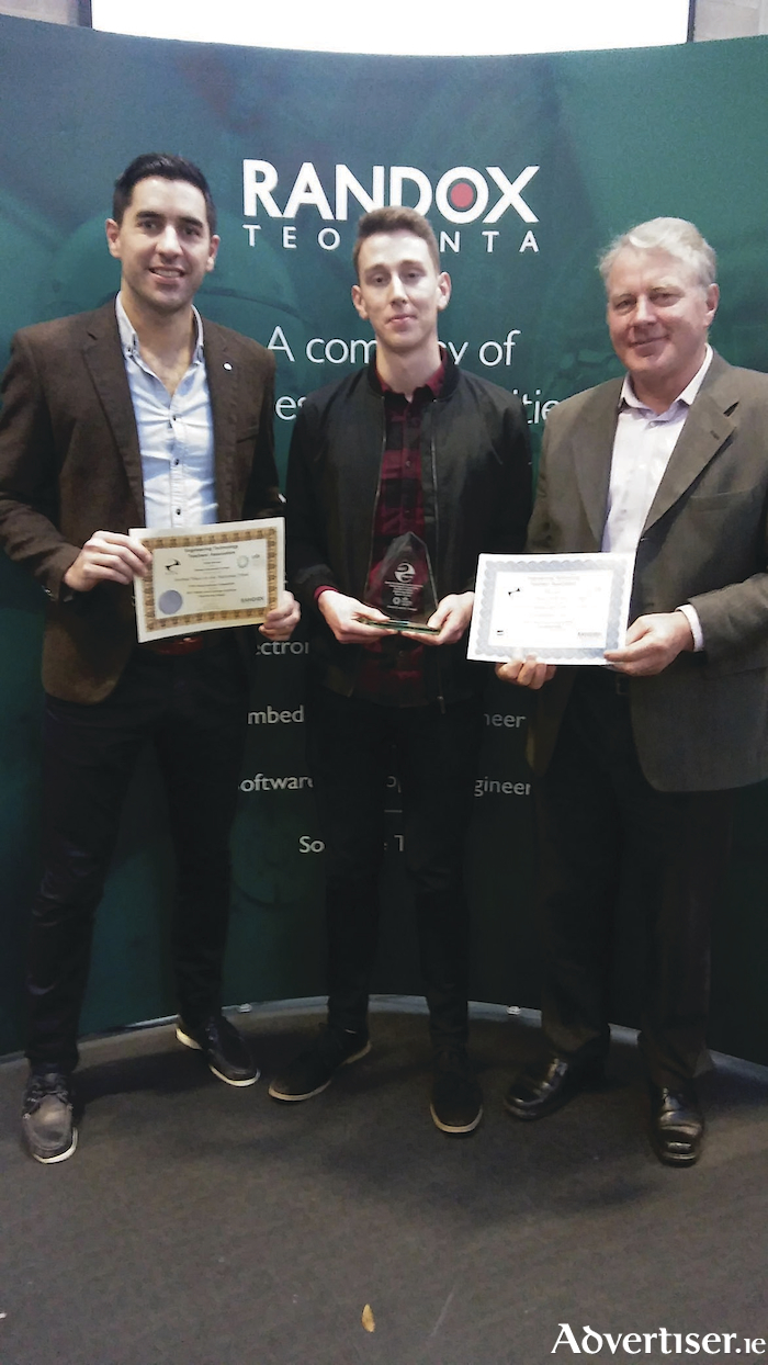Right: Coilin Hernon receiving his national engineering award, pictured with his teacher Gerard Bane and his father and past teacher in GCC, Coilin Hernon snr.