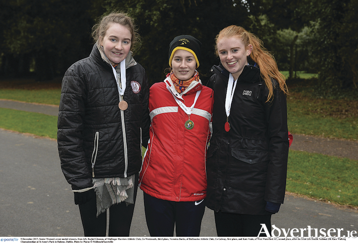 The Irish Life Health National 20k took place in Dublin last weekend. Ballinasloe Athletic Club's Veronica Burke (centre) took first place, with Kate Veale (right) following in second, and Rachel Glennon of Mullingar Harriers Athletic Club taking third in the womens senior category. Photo: Piaras O Midheach/Sportsfile