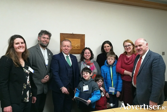 Parents and children from GET2LS meeting with Galway politicians to seek support for an Educate Together Secondary School for Galway. (L-R): Maggie Hall, Andrew Ó Baoill, Minister Ciaran Cannon, Tadhg Ó Baoill, Jodi Blumenfeld, Noah Ó Baoill, Marguerite Hughes, Louis Hughes, Senator Alice-Mary Higgins, Dep Noel Grealish.