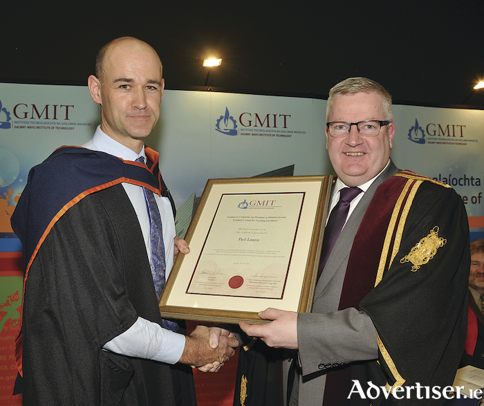 Paul Leamy, Letterfrack campus, National Centre for Excellence in Furniture Design and Technology, receiving the GMIT President's Award for Teaching Excellence from Dr Fergal Barry, president of GMIT.