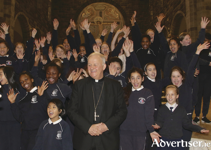Bishop Brendan Kelly with pupils of Mercy National School after the announcement of Most Rev Brendan Kelly Bishop of Achonry as Bishop of Galway and Kilmacduagh at Galway Cathedral on Monday morning. Photo:-Mike Shaughnessy