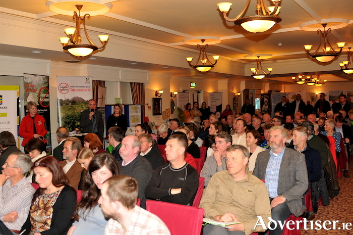 A large crowd in attendance at the recent Moy Trust information night at Mount Falcon Hotel. Photo: John O'Connor.