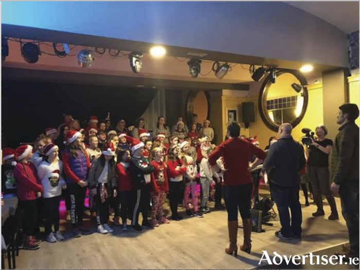 The cast of Castlebar Pantomime performed 'Be Our Guest' for the RTE crew.