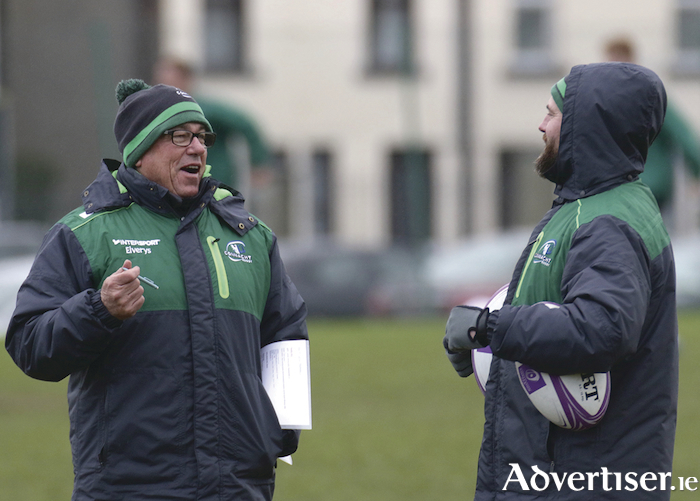 Connacht Rugby coach Kieran Keane with Connacht assistant coach Nigel Carolan at the Sportsground on Tuesday. Photo: Mike Shaughnessy