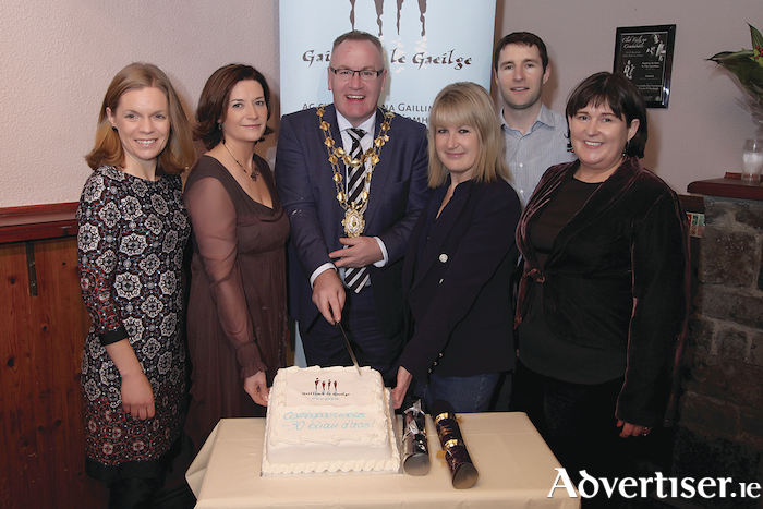 Gearóidín Hynes, Gaillimh le Gaeilge, Bernadette Mullarkey, Cathaoirleach Ghaillimh le Gaeilge, Mayor of the City of Galway, Cllr. Pearce Flannery,  Maeve Joyce-Crehan, Galway Chamber, Mícheál Ó Ceallaigh, Gaillimh le Gaeilge and Bríd Ní Chonghóile, Gaillimh le Gaeilge, who celebrated 30 years in business at Cóisir Nollag Ghaillimh le Gaeilge in Club Áras na nGael, Dominick Street.