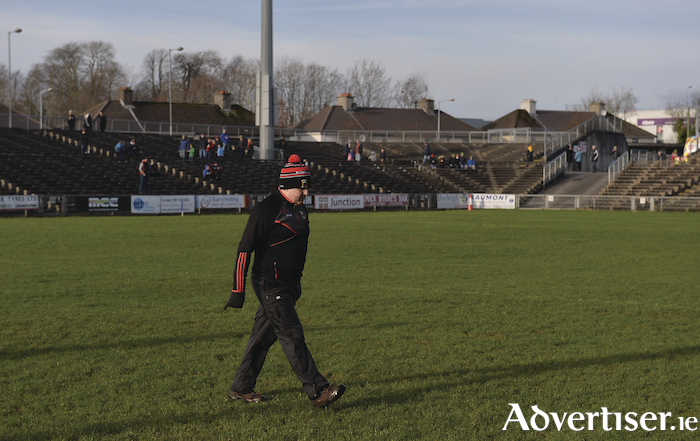 Walking the line: Stephen Rochford walks the pitch in MacHale Park. Photo: Sportsfile