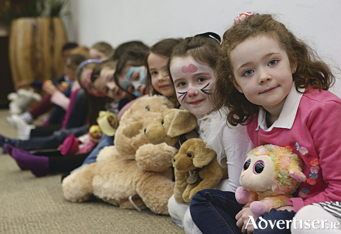 Children from Scoil Bhride in Menlo, wait patiently for their teddies to be seen at NUI Galway's Teddy Bear Hospital. Photograph by Aengus McMahon