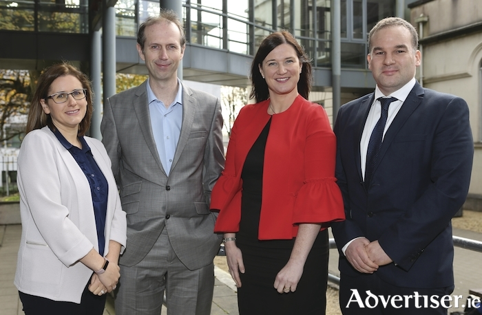 Pictured at the announcement of EY's sponsorship of TechInnovate at NUI Galway are l-r: Murireann McGarry, EY, John Breslin, TechInnovate, NUI Galway, Emer Joyce, EY and Padraic Waters, EY. 