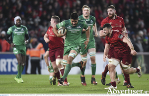 Jarrad Butler of Connacht in action against Conor Oliver of Munster during the Guinness PRO14 Round 13 match between Munster and Connacht at Thomand Park in Limerick. Photo: Matt Browne