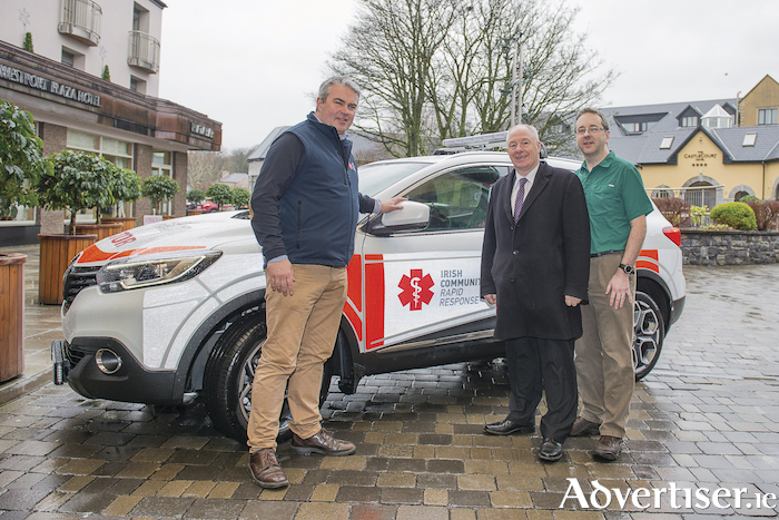 Pictured at the launch of the Mayo Irish Community Rapid Response Renault vehicle in the Plaza Hotel, Westport, were John Kearney (CEO ICRR), Minister for Rural and Community Development, Michael Ring, and Dr Jason Horan (consultant in emergency medicine, MUH). Photo: John Mee Photography.