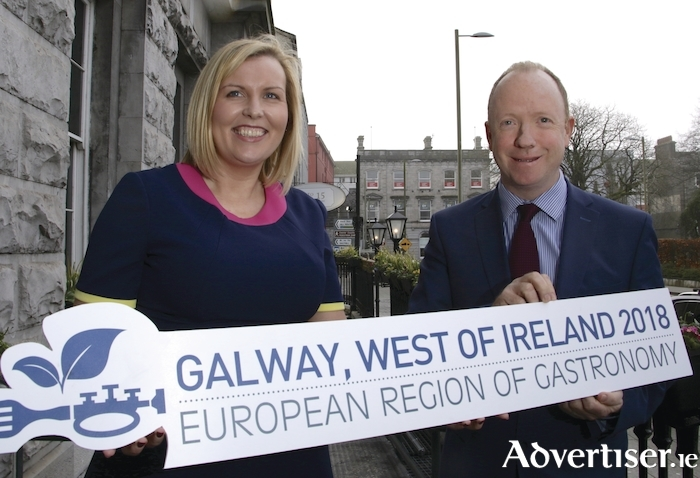 2018 European Region of Gastronomy programme co-ordinator Elaine Donohue, and Galway County Council's Alan Farrell. Photo:- Mike Shaughnessy