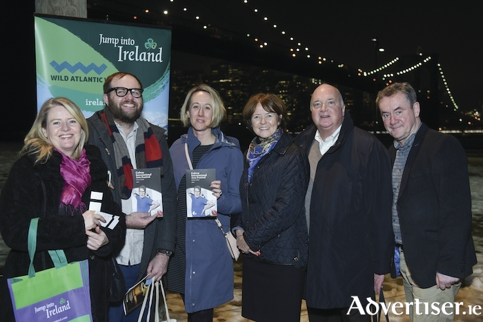 The Galway International Arts Festival was highlighted in Brooklyn, New York, at an event hosted by Tourism Ireland. Pictured (LtoR): Ruth Moran, Tourism Ireland; Nicholas DeRenzo, Hemispheres (United Airlines inflight magazine); Cat Jordan, Travelzoo; Alison Metcalfe, Tourism Ireland; Jim Higgins, United Stations Radio Networks; and John Crumlish, Galway International Arts Festival. Photo:- James Higgins