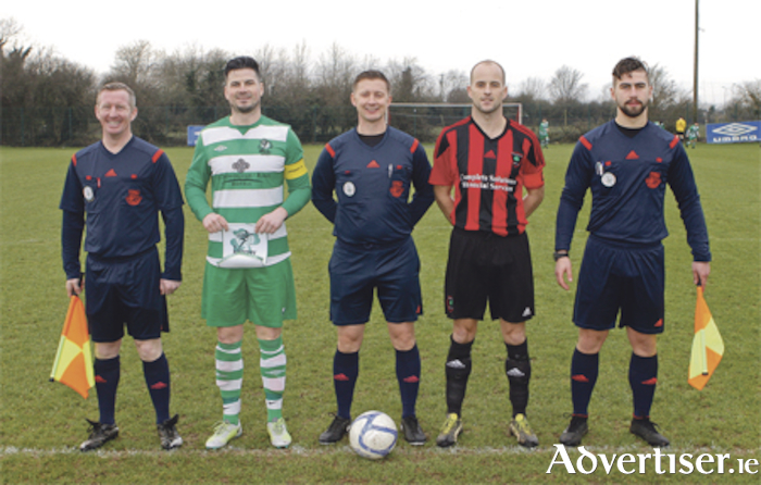 Team captains, John McDonagh (Killarney Celtic) and Peter Sherlock pictured with the match officials