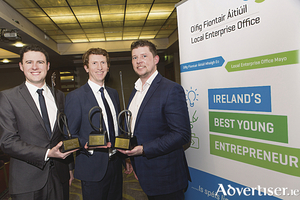 IBYE Regional Winners Daniel Loftus Urban Fox, Brendan Boland Loci Orthopaedics, John McNicholas, Inspire Time and Stone- Photo Martina Regan