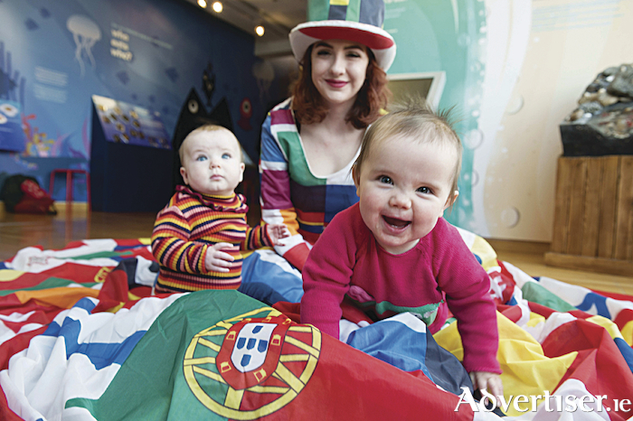 Aoibhe Ryan (Eight months) from Craughwell and Siún Duggan (10 months) from Salthill with Aoife Ryan, Galway Community Circus. Photo:Andrew Downes   xposure