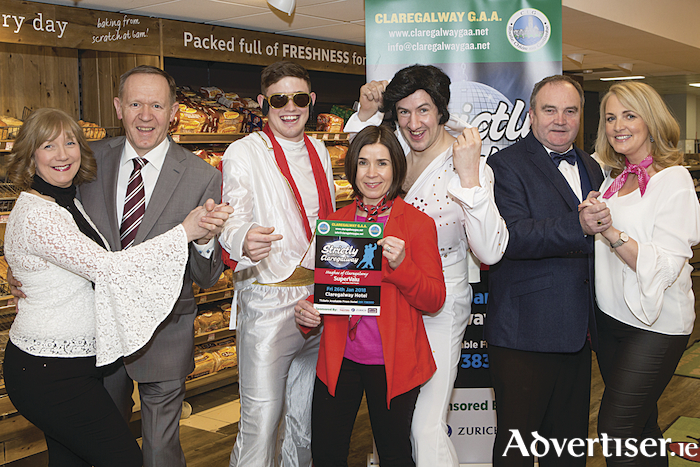 "Jackie and Peadar Dolan, Treat Claregalway, Brian Callanan, Eva Hughes, Main Sponsor, Hughes SuperValu, Claregalway, James Collins, John Morrin, Chairman, Claregalway GAA and Geraldine Kilmartin pictured at the launch of the ""Strictly Claregalway"", Season 3 in Hughes SuperValu Claregalway. In aid of Claregalway GAA, Strictly takes place in the Claregalway Hotel on Friday, January 26th."