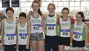Craughwell AC juveniles at the National Indoor Combined Championships in AIT:  Lukas Schukat, Cian Lavan,  Ellie Cronin, Saoirse Moore, Clodagh O'Meara, and Fauve Aylmer.
