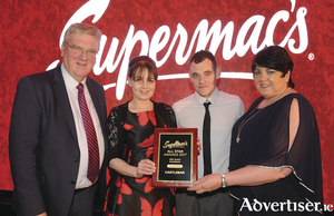 Franchisee, Joan Collins (second from left), and manager Shane Ferry of Supermac's, Castlebar, accepts Quality Service Cleanliness Award from Pat and Una McDonagh at the Annual Supermac's All Star Awards held in Lough Rea Hotel and Spa, Galway.