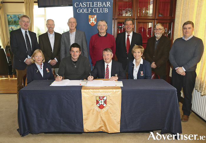 At the signing of the contract for the reconfiguration of Castlebar Golf Club were: Ger Gibney (managing director of Ryan Hanley), Jeff Howes (Jeff Howes Golf Design), Tom Martyn (hon secretary, Castlebar Golf Club), James D'Arcy (Dar Golf Construction),  Gerry Needham (president, Castlebar Golf Club), Joe Beirne (Castlebar Golf Club), and Daragh O'Shaughnessy (Ryan Hanley).  Front row: Rowena Kilkelly (Lady president, Castlebar Golf Club), Graham D'Arcy (Dar Golf Construction), John McHale (captain, Castlebar Golf Club), and Cora Mulroy (Lady captain, Castlebar Golf Club). Photo: Michael Donnelly.