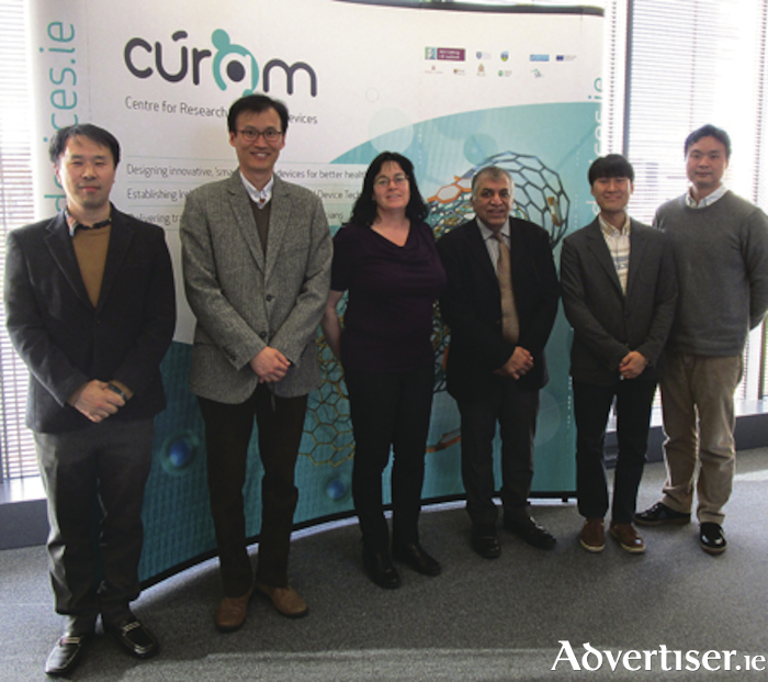 Pictured l-r: Sang Ho Lee, Senior Researcher, Trimaran Co, Dr Woo Jong Lee, Head of the Biomedical Manufacturing Technology Centre, KITECH, Carmel McGroarty-Mitchell, Industry Liaison Officer, CÚRAM, Professor Abhay Pandit, Scientific Director, CÚRAM, Dr Seung Hwa Yoo, senior research ewwengineer, Biomedical Manufacturing Technology Centre, KITECH, and Dr Woo Jin Kim, Senior Research Engineer, Biomedical Manufacturing Technology Centre, KITECH. Photo: NUI Galway