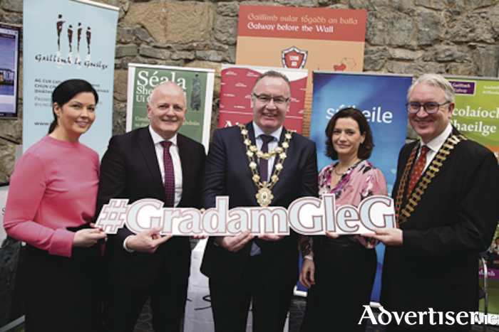 Avril Smith, Eyre Square Centre (overall winner of Gradam Sheosaimh Uí Ógartaigh 2017), Declan Varley, group editor of The Galway Advertiser (Main sponsor of the Gradam), Mayor of the City of Galway, Cllr Pearce Flannery, Galway City Council, Bernadette Mullarkey, Cathaoirleach Ghaillimh le Gaeilge and Maurice O'Gorman, Galway Chamber (sponsor of the Gradam) at the launch of Gradam Sheosaimh Uí Ógartaigh 2018 which took place in the Eyre Square Centre.