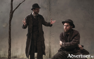 Marty Rea as Vladimir and Aaron Monaghan as Estragon  in Druid's production of Waiting for Godot by Samuel Beckett directed by Garry Hynes. Photo Matthew Thompson