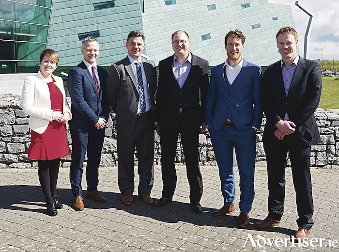 Pictured at the launch of the New Frontiers programme are (L-R) Anna Downes (showhouz.com), Fergal O'Connor (buymeedia.com) Mark Herrick (headritesports.com) Chris Collins (tweet-eye.com), Richard McCurry (newbychinese.com) and Anthony Cahill (kyzentree.com)