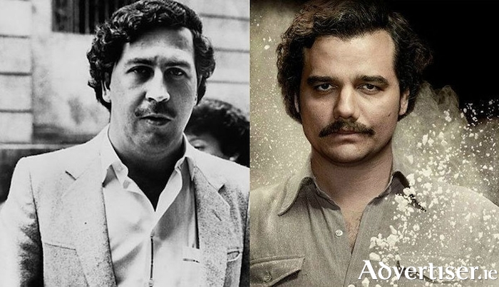 Pablo Escobar (left) and Wagner Moura who plays Escobar in Narcos.