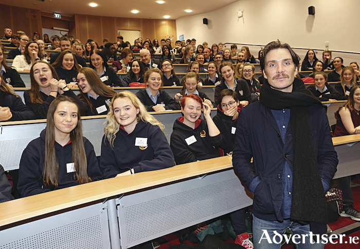 Cillian Murphy, actor and patron of the UNESCO Child and Family Research Centre at NUI Galway, pictured with 200 Transition Year students who attended NUI Galway's Youth Empathy Day. Photo: Aengus McMahon