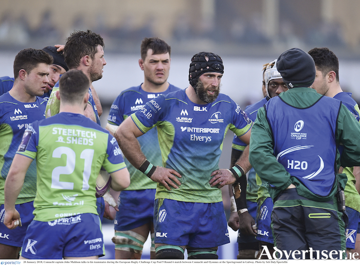Inspirational Connacht captain John Muldoon (centre), who announced he will retire from playing at the end of the season,  will lead Connacht in tomorrow's fixture against Ospreys at the Sportsground (7.35pm).