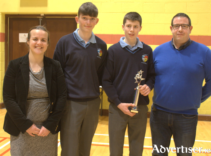 First prize winners at the North Mayo Student Enterprise Programme final, Lough Conn Crafts, St Tiernan's College, Crossmolina.