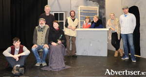 The cast of The Cripple of Innishman presented by Clann Machua Drama Group: Conor Durcan, Iggy Bownes, Seamus Corry, Nell McNicholas, Lorcan Kitching, Finola Mellett, Ita Malee, Rebecca Farrington, and Adrian Lavan.