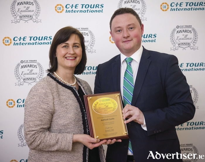 Pictured at CIE Tours International twenty eighth annual Awards of Excellence was Elizabeth Crabill (chief executive officer, CIE Tours International) presenting a Connacht Hotel Merit Award to Alan Vallely (Ashford Castle)
