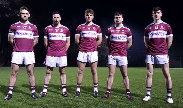 Crossmolina Deel Rovers GAA Senior footballers (from l-r): Stephen Duffy, Cathal Carolan, Jordan Flynn, Fionan Duffy, and Conor Loftus at the launch of the new Crossmolina Deel Rovers GAA jersey. Crossmolina will be sporting the Mindspace logo on their jerseys this year to promote positive mental health in Mayo.