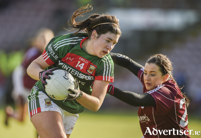 Going for goal: Mayo's Rachel Kearns looks to break for goal against Galway. Photo: Sportsfile