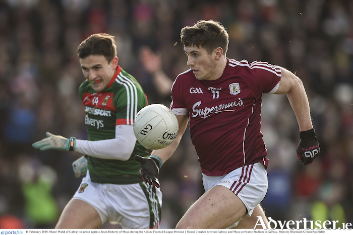 Shane Walsh of Galway in action against Jason Doherty of Mayo during the Allianz Football League division one match at Pearse Stadium in Galway. 								Photo: Diarmuid Greene/Sportsfile