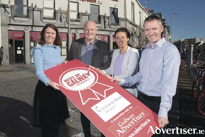 Launching the Galway Advertiser newspaper Best of Galway Awards at Eyre Square yesterday were Maire McCarthy (sales manager Galway Advertiser), Declan Varley (group editor Galway Advertiser), Audrey Elliot (Ireland West Airport Marketing), and Joe Hynes (financial director of the Galway Advertiser). 