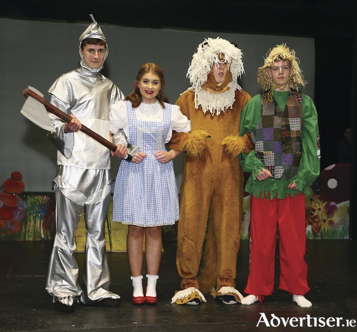 We're off to see the wizard: Tin Man (Domhnaill Roe), Dorothy (Susan Flynn), Lion man (Michael McNamara), and Scarecrow (Christopher Reaney) will take to the stage in Claremorris next week. Photo: Michael Donnelly.