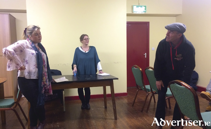 Seamas O'Kelly Players Lorraine Lynch (Kate), Carmel McCarthy (Maggie) and John Lawlor (Byrne) in rehearsal for Big Maggie.