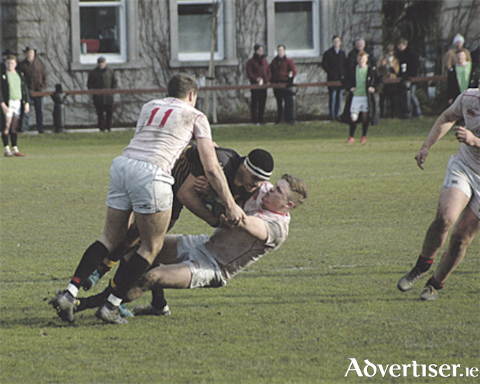 Cian Romaine is tackled by Dublin University duo Sebastian Fromm and Evan Dixon