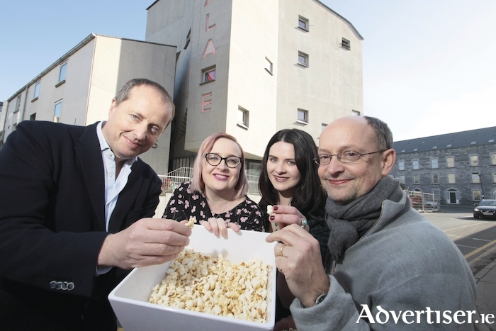 Popcorn at the ready for the opening of PÁLÁS cinema on Friday Andrew Lowe (Element Pictures) Kate Walsh  manager,  Charlene Lydon ( film Programmer) and Ed Guiney ( Element Pictures). Photo:- Mike Shaughnessy