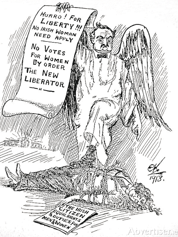 The opposition of John Redmond and the Irish Parliamentary Party to the suffragette cause is lampooned in this Ernest Kavanagh cartoon, published in The Irish Citizen, March 1913.