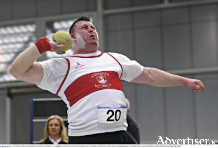 Winner Sean Breathnach of Galway City Harriers AC competing in the senior men's shot putt at the Irish Life Health National Senior Indoor Athletics Championships