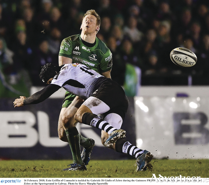 Eoin Griffin of Connacht is tackled by Gabriele Di Giulio of Zebre during the Guinness PRO14 Round 15 match between Connacht and Zebre at the Sportsground in Galway.