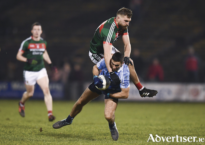 Up and over: Aidan O'Shea battles for the ball. Photo: Sportsfile