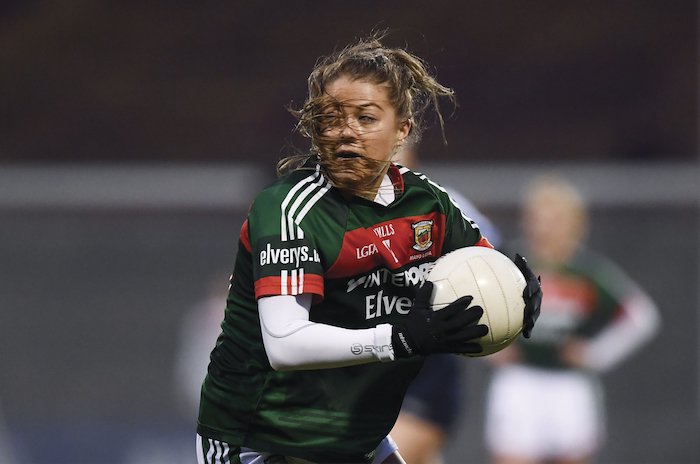 Whip around: Mayo's Sarah Rowe kicked four points on her return to action for Mayo. Photo: Sportsfile