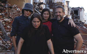 The Breeders (LtoR): Josephine Wiggs, Kim Deal, Kelley Deal, and Jim MacPherson. Photo:- Marisa Gesualdi