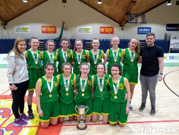 The Coláiste Éinde team that was crowned U5 All Ireland Division A basketball champions at Tallaght Stadium.