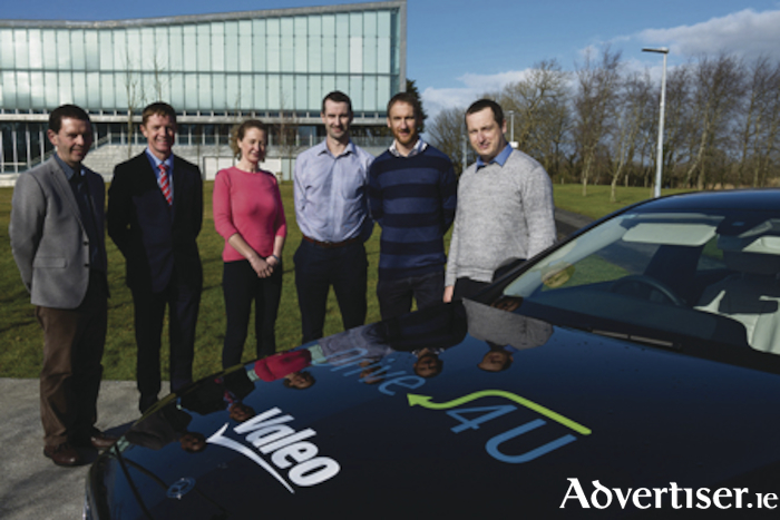 Pictured at the signing of an agreement on autonomous vehicles research between Lero researchers at NUI Galway and Valeo were from left: Dr Martin Glavin, Dr Edward Jones, (both Lero researchers at NUI Galway), Catherine Enright (vision fusion software team manager, Valeo), Jonathan Horgan (computer vision algorithms manager, Valeo), John McDonald (advanced engineering systems architect, Valeo) and Dr Ciarán Hughes (senior expert in computer vision, Valeo). Photo Andrew Downes