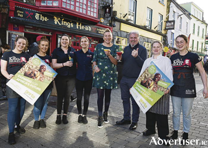 Ronan Scully with Mary Grealish and the staff of The King's Head Bistro at 15 High Street, Galway. Photo: Andrew Downes XPOSURE